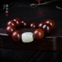 鼎云轩珠宝 和田玉白玉桶珠小叶紫檀手串