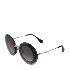 MiuMiu/缪缪 女式银色亮粉织物醋酸纤维圆形镜框配金属镜腿太阳镜 10RS UES0A7 64