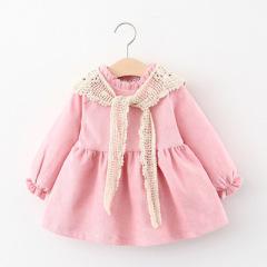 童装裙子手钩围巾纯棉冬季儿童连衣裙甜美女童连衣裙可爱公主裙