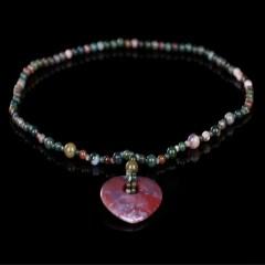 琳福珠宝  天然五彩玛瑙心形项链  毛衣链