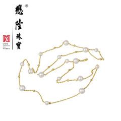 懋隆S925银饰镀金正圆强光无暇淡水珍珠项链长毛衣链正品包邮