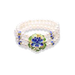 芭法娜 国色天香 天然淡水珍珠手排 配烧蓝配饰 民族风