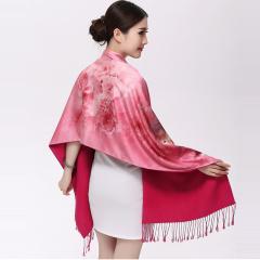 春秋冬季女士百搭羊毛针织花色双面围巾羊绒加厚保暖披肩两用包邮