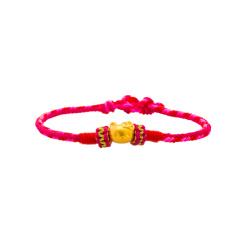 芭法娜 粉红奇缘 HK 3D硬金足金黄金转运珠编织手链 0.45g 颗调节长短 纯手工编织