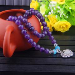 熙益 精致紫水晶长命锁造型手链