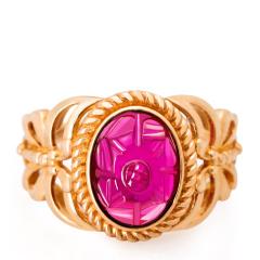 芭法娜 愿蝶 18K金镶西瓜碧玺雕刻件戒指 精品碧玺戒指