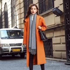 采沂 纯色修身西装领长款毛呢外套