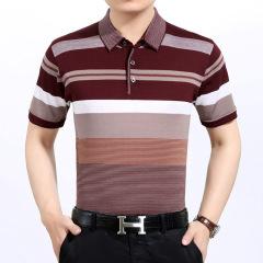 新款中年男士短袖t恤翻领夏装爸爸装体恤衫男装父亲装