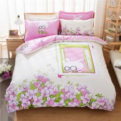 VIPLIFE青春时尚全棉斜纹活性印花四件套 高支高密纯棉床单被套-兔兔花园