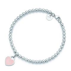 Tiffany & Co./蒂芙尼 女士纯银樱花粉心形小珠Bead珐琅手链 30978811