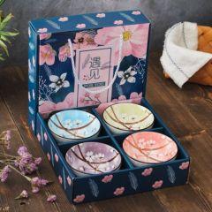 福辰 青花瓷碗套装日式餐具碗筷礼盒创意礼品陶瓷套碗4碗4筷