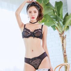 萌娜莉 ST0309 欧美蕾丝刺绣蝴蝶结文胸套装超薄网纱性感聚拢半杯内衣