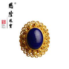 懋隆S925银饰镀金手工花丝镶嵌青金石戒指女款复古礼物包邮