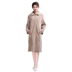 ZR女士小翻领长款羊毛大衣  货号124195