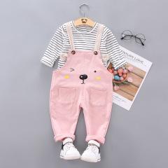 童装秋装套装 宝宝幼童可爱熊背带裤套装 可爱小童套装