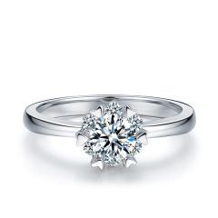 芭法娜 众星捧月 1.0ct/1粒 D色 SI1 简约优雅Pt950铂金钻石戒指 订婚结婚戒指