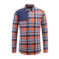 男士商务休闲长袖衬衫贴布绣翻领条纹衬衫23635123