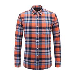 男士长袖休闲衬衫格纹翻领修身衬衫23635118