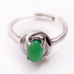 DODOBEL WOMAN时尚珠情侣女性925银镶嵌玉髓戒指