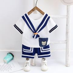 菲儿小屋夏季2020新款韩版儿童男女宝宝套头衫海军领带两件套