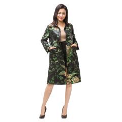 阿伦达女士时尚印花羊皮风衣