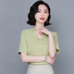 夏装新款韩版宽松显瘦雪纺衫气质小衫V领轻熟短袖上衣