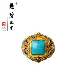 懋隆珠宝S925银饰手工花丝烧蓝镶嵌绿松石戒指女款复古