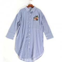 丁摩 刺绣拼色条纹宽松衬衫6007