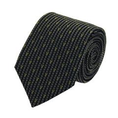 VALENTINO/华伦天奴 黑色底银灰间黄色LOGO刺绣男士真丝领带 VA85LS V1307