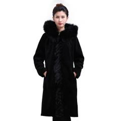 佰朗帝狐狸毛带帽羊毛大衣  货号123960