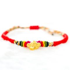 芭法娜 猴塞雷 欢天喜地情侣款 3D立体黄金足金硬金转运珠编织情侣手链 仅此一套