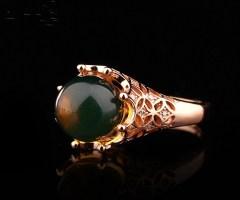 琳福珠宝  典藏优质天然蓝珀戒指