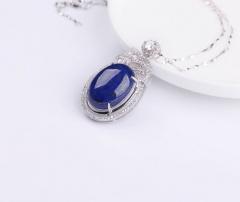 琳福珠宝  S925银镶嵌帝王级青金石项链吊坠饰品