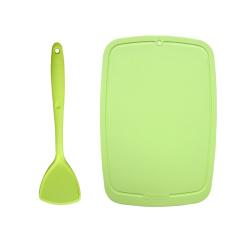 艾特巴赫(ALTENBACH)绿色硅胶铲+绿色硅胶砧板菜板两件套