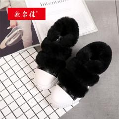 欧尔佳头层牛皮加懒兔毛新鞋鞋
