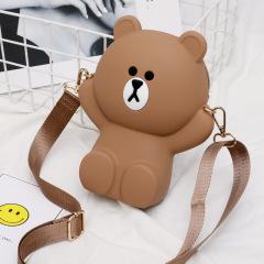 上新小包包女2019夏新款韩版休闲小熊手机包可爱萌奶油单肩斜挎包