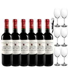 整箱法国进口红酒 查特布雅克干红 波尔多法定产区 进口红酒 整箱送6酒杯