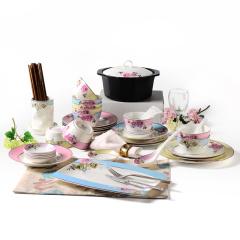 Ijarl亿嘉陶瓷时尚创意骨瓷餐具碗盘筷子个性贵族风套装月贵纷菲56头圆形套装