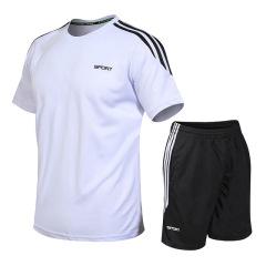 速干衣男跑步套装短袖短裤圆领t恤透气宽松健身大码户外运动套装