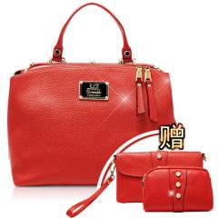 西班牙品牌D.twinkle俏丽时尚牛皮双开包 红色