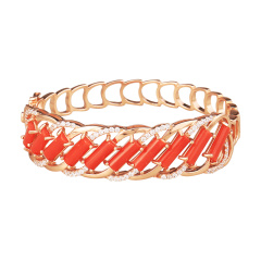 保丽金红珊瑚手镯套组