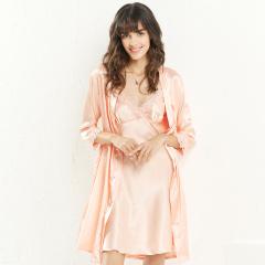 维多拉斯新款女士仿真丝吊带睡裙七分袖开衫睡袍两件套家居服8109