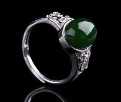 琳福珠宝  S925银镶和田碧玉戒指