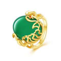 熙尊双鱼戏水绿玛瑙戒指