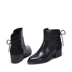 达芙妮(DAPHNE)时尚拼接气质尖头后系带侧拉链粗跟短靴1016607014