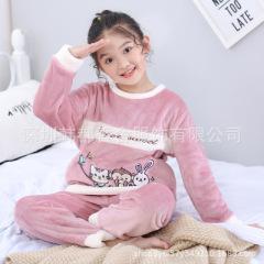 2019  儿童睡衣冬季加绒加厚款中大童家居套装小女孩保暖法兰绒