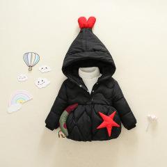 韩版新款 现货1~3岁连帽可爱星星月亮加厚童棉衣 2019年冬季外套