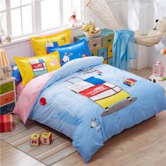 VIPLIFE高端全棉四件套 纯棉活性印染高支高密床单被套-环游世界