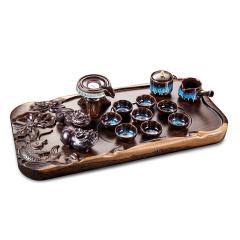 宫造年年有余整木雕刻茶盘套组