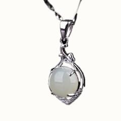 琳福珠宝  转运珠S925银镶嵌和田玉项链吊坠饰品